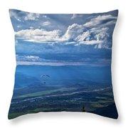 Paragliding Above Jackson Hole Throw Pillow
