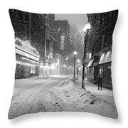 Paramount Snowstorm Boston Ma Washington Street Black And White Throw Pillow