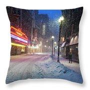 Paramount Snowstorm Boston Ma Washington Street Throw Pillow
