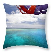 Parasail Over Fiji Throw Pillow