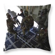 Paratroopers Jump From A C-130 Hercules Throw Pillow by Andrew Chittock