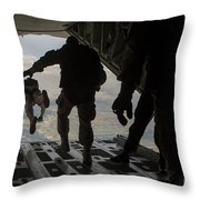 Paratroopers Jump Out Of A Kc-130j Throw Pillow