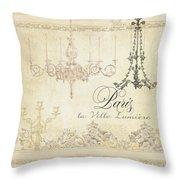 Parchment Paris - City Of Light Chandelier Candelabra Chalk Throw Pillow