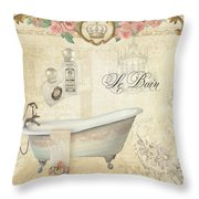 Parchment Paris - Le Bain Or The Bath Chandelier And Tub With Roses Throw Pillow