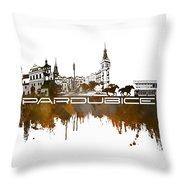 Pardubice Skyline City Brown Throw Pillow