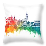 Pardubice Skyline City Color Throw Pillow