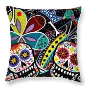 Pareja Dia De Los Muertos Throw Pillow by Pristine Cartera Turkus