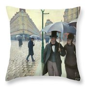 Paris A Rainy Day - Gustave Caillebotte Throw Pillow