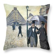Paris A Rainy Day Throw Pillow by Gustave Caillebotte