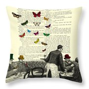 Inside Of A French Bistro At Paris And Rainbow Butterflies Throw Pillow