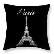 Paris And The Eiffel Tower - White Throw Pillow