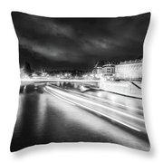 Paris At Night 19 Bw Art  Throw Pillow