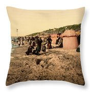 Trouville France Beach - The Good Old Days Throw Pillow