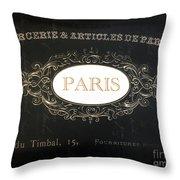 Paris Black And White Gold Typography Home Decor - French Script Paris Wall Art Home Decor Throw Pillow