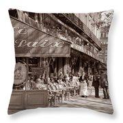 Paris Cafe 1935 Sepia Throw Pillow