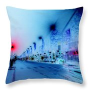 Paris Champs-elysees Neon Lights Throw Pillow