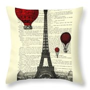Paris, City Of Love Throw Pillow