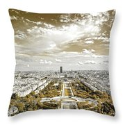 Paris City View 20 Sepia Throw Pillow
