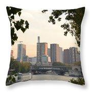 Paris Cityscape Across The Water Throw Pillow