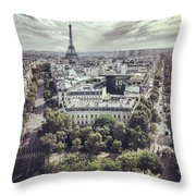 Paris Cityscape From Above, France Throw Pillow