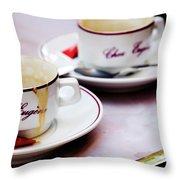 Paris Coffee Cups Throw Pillow
