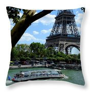 Paris Eiffel Boat Throw Pillow