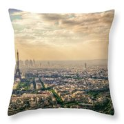 Paris Eiffel Skyline And Cityscape Aerial View At Sunset From Montparnasse Tower Observation Deck  Throw Pillow