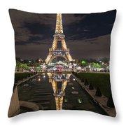 Paris Eiffel Tower Dazzling At Night Throw Pillow