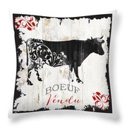 Paris Farm Sign Cow Throw Pillow