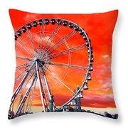 Paris Ferris Wheel Pop Art 2012 Throw Pillow