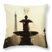Paris Fountain In Sepia Throw Pillow