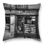 Paris France Book Store Library Black And White Throw Pillow