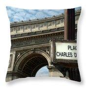 Paris France. Larc De Triomphe On Place Charles De Gaulle Throw Pillow
