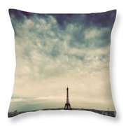 Paris, France Skyline With Eiffel Tower. Dark Clouds, Vintage Throw Pillow