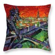 Paris Gargoyle Contemplation Textural Impressionist Stylized Cityscape Throw Pillow