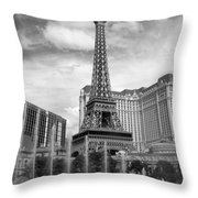 Paris Hotel - Las Vegas B-w Throw Pillow