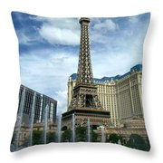 Paris Hotel And Bellagio Fountains Throw Pillow