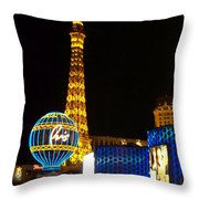 Paris Hotel At Night Throw Pillow