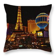 Paris In Las Vegas-nevada Throw Pillow