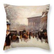 Paris In Winter Throw Pillow