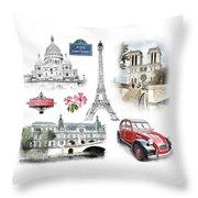 Paris Landmarks. Illustration In Draw, Sketch Style.  Throw Pillow