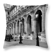 Paris Louvre Black And White Architecture - Louvre Lantern Lights Throw Pillow