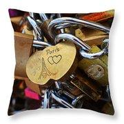 Paris Love Locks Paris France Color Throw Pillow