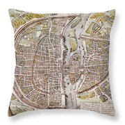 Paris Map, 1581 Throw Pillow