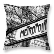 Paris Metro Sign Bw Throw Pillow