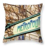 Paris Metro Sign Color Throw Pillow