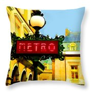 Paris Metro Stop Throw Pillow