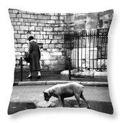 Paris Old Woman And Dog Throw Pillow