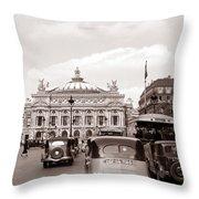 Paris Opera 1935 Sepia Throw Pillow