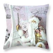Paris Shabby Chic Holiday Santa - Paris Pink Santa Claus Joyeux Noel - Pink Santa Eiffel Tower Print Throw Pillow
